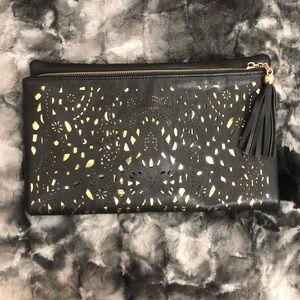 Handbags - Large black and gold clutch bag